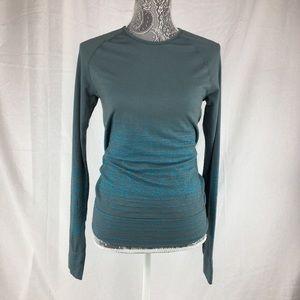 Athleta M Blue Green Wool Blend Shirt Top